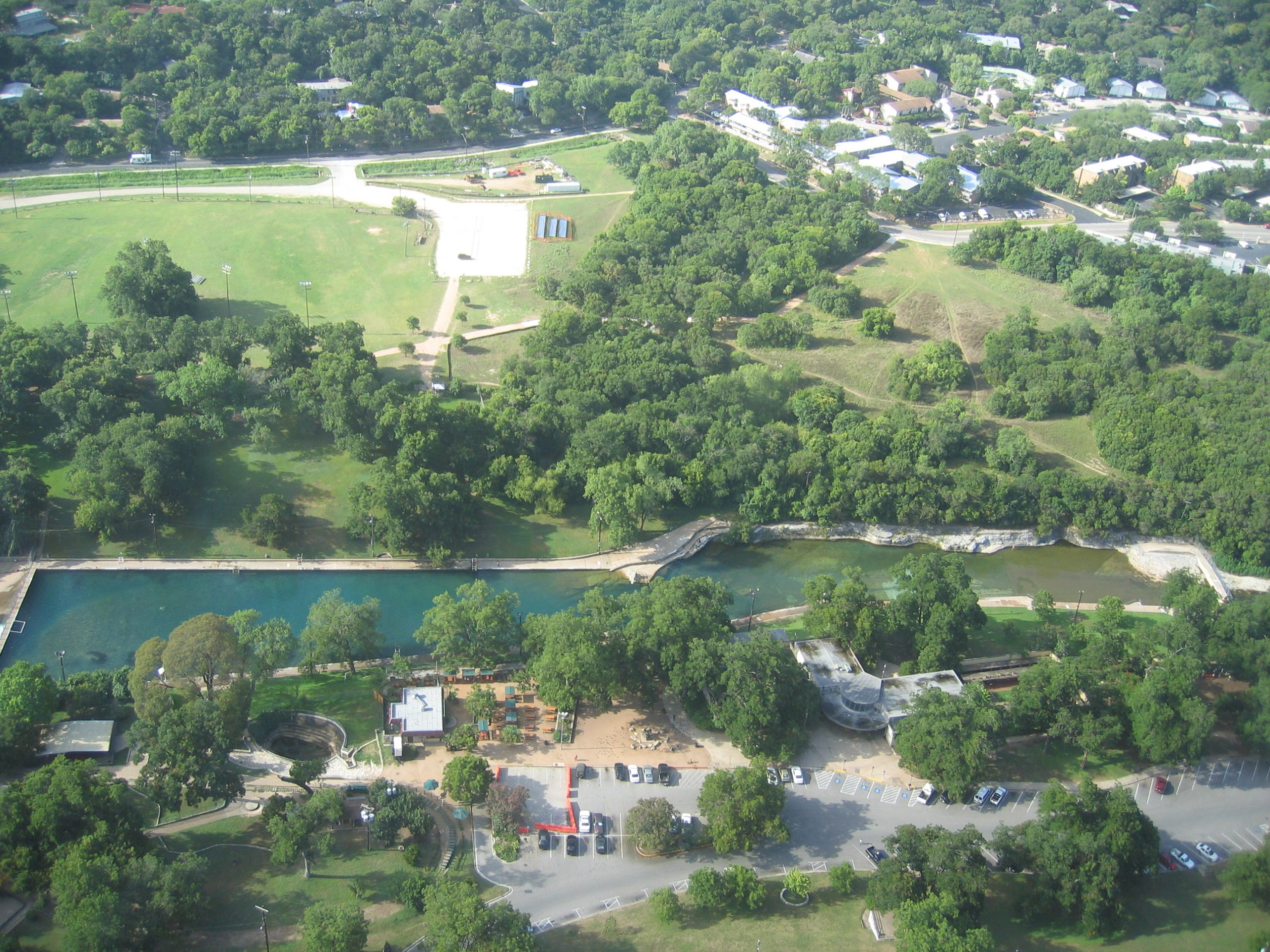 Barton Springs full view from above Zilker