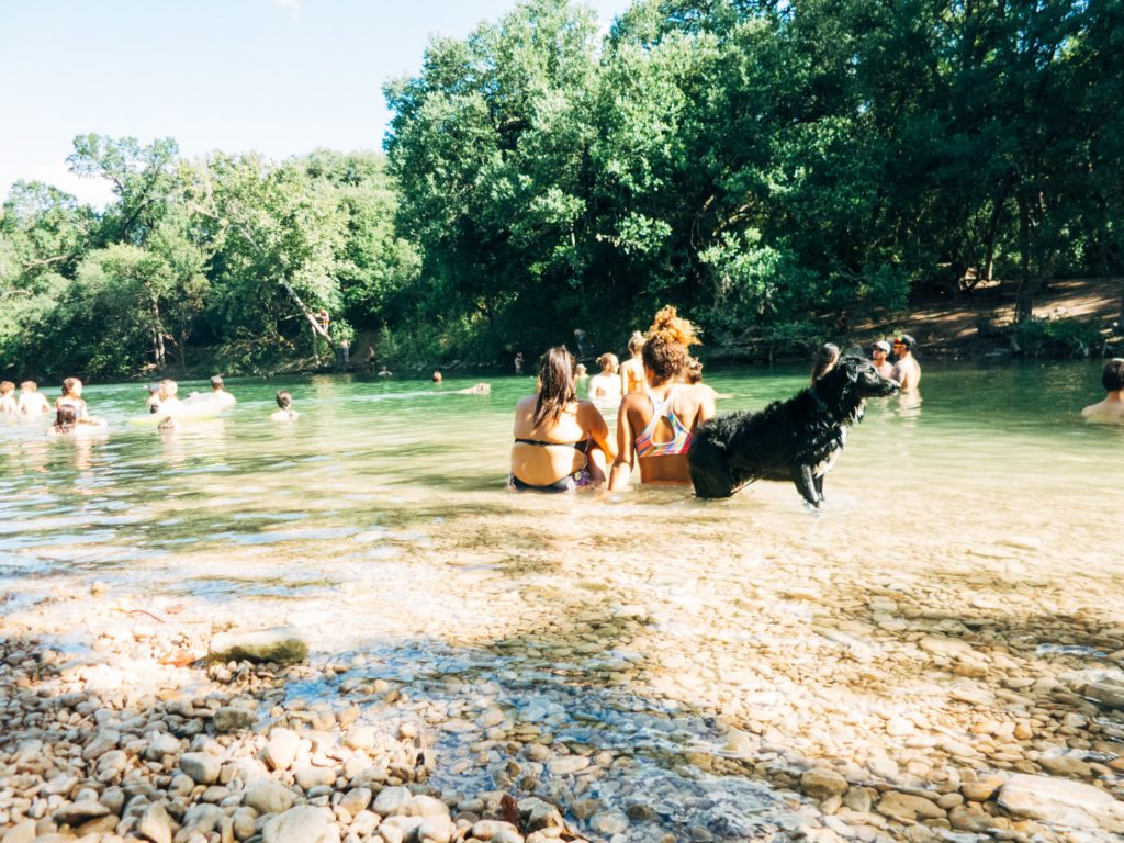 friends and dog at barton creek