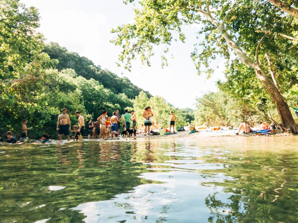 hanging out on an island on barton creek